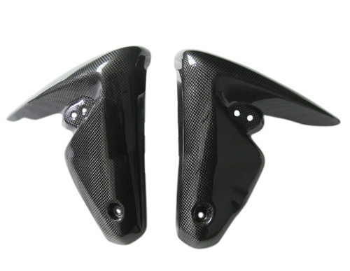 Radiator Covers for Triumph Speed Triple 1050 08-10 in Glossy Plain Weave Carbon Fiber