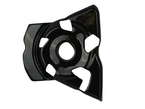Sprocket Cover in Glossy Twill Weave Shown for Kawasaki Z1000 2010-2014.