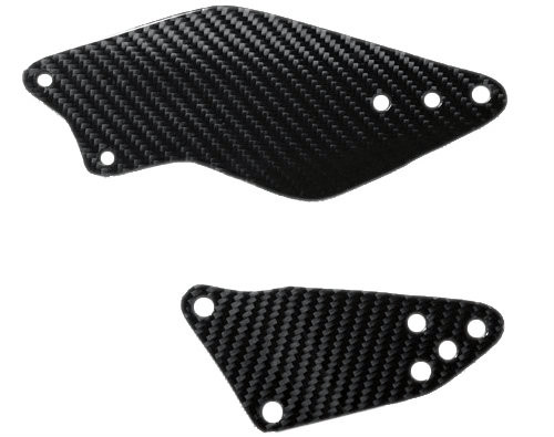 Heel Plates in Glossy Twill Weave Carbon Fiber for Kawasaki ZX10R 2006-2007