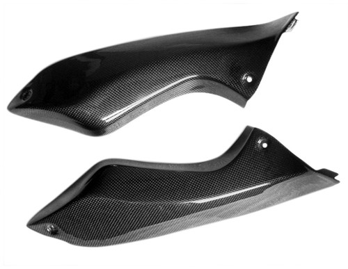 Glossy Plain Weave Carbon Fiber Side Panels for Kawasaki ER-6F - Ninja 650R, 2006-2011
