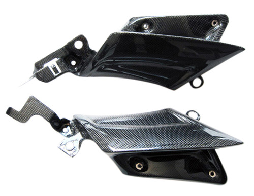 Mid Fairing Inserts for Yamaha R6 03-05 in Glossy Plain Weave Carbon Fiber