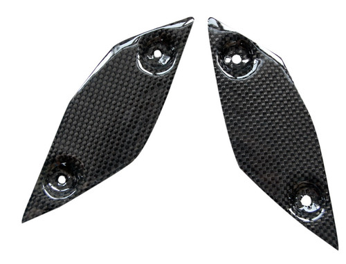 Heel Plates in Glossy Plain Weave Carbon Fiber for Yamaha FZ8 2010-2013