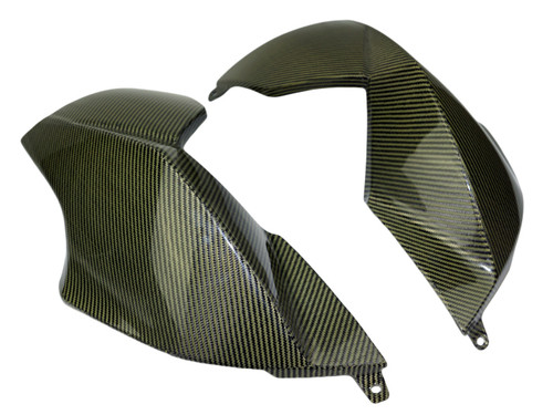 Large Side Panels in Black and yellow glossy twill Carbon Fiber for Aprilia Dorsoduro 1200
