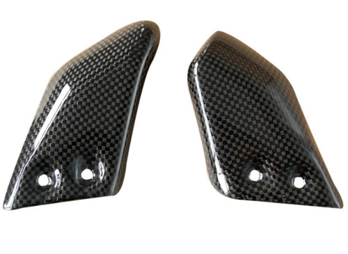 Front Heel Guards in Glossy Plain Weave Carbon Fiber for Ducati Monster S2R,S4R, S4RS
