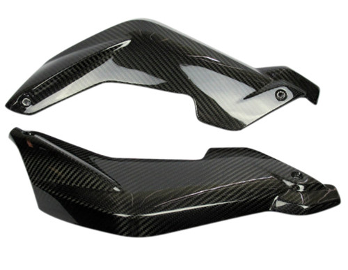 Fork Covers in Glossy Twill Weave Carbon Fiber for BMW K1300R , fits K1200R