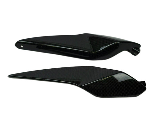 Under Rear Seat Side Covers in Glossy Plain Weave Carbon Fiber for BMW K1200R, K1300R