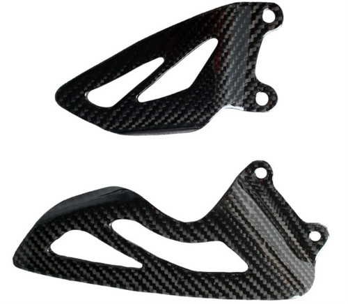 Heel Plates in Glossy Twill Weave Carbon Fiber for Triumph Daytona 675 2006-2012