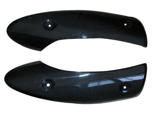 Heat Shields in Glossy Plain Weave Carbon Fiber for Triumph Street Triple 07-12