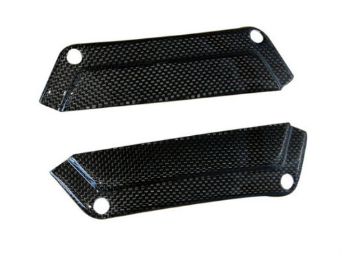 Seat Finishing Plates in Glossy Plain Weave Carbon Fiber for Triumph Street Triple 07-12