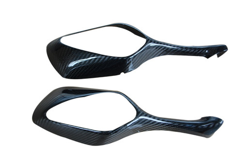 Mirror Covers (set) in Glossy Twill Weave Carbon with Fiberglass for Honda CBR1000RR 08-11