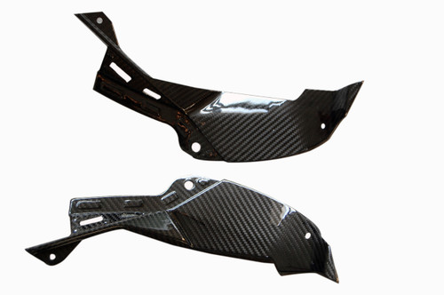 Air Intake Covers in Glossy Twill Weave Carbon Fiber for Kawasaki ZX6R 2013-2018