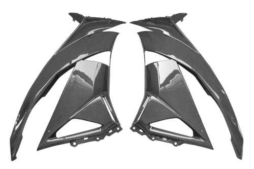 Large Side Fairings Set in Glossy Plain Weave Carbon Fiber for Kawasaki ZX6R 2009-2012
