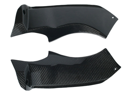 Side Panels in Glossy Twill Weave Carbon Fiber for Kawasaki ZX6R 2003-2004