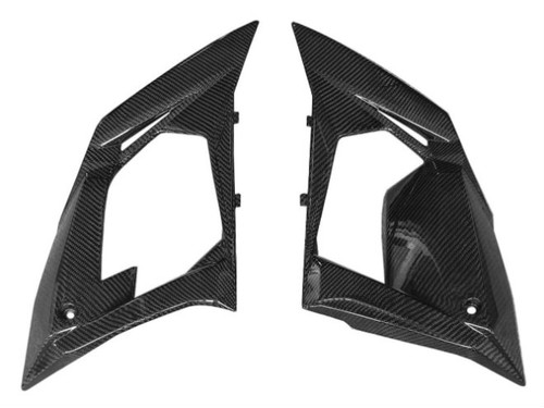 Side Panels (B) in Glossy Twill Weave Carbon Fiber for Kawasaki ZX10R 2010
