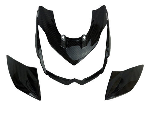 Front Fairing with Middle Parts in Glossy Twill Weave Shown for Kawasaki Z1000 2010-2013.