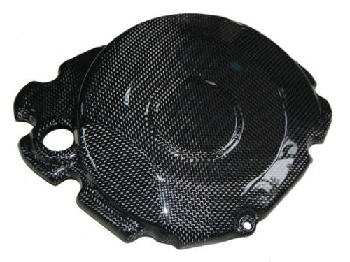 Clutch Cover Guard in Glossy Plain Weave Carbon Fiber for Suzuki GSXR 1000 2005-2008