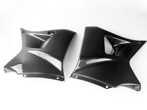 Tank Side Panels in Glossy Twill Weave Carbon Fiber for Yamaha TDR 250