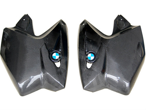 Upper Side Covers in Glossy Plain Weave Carbon Fiber for BMW R1200GS 2004-2007