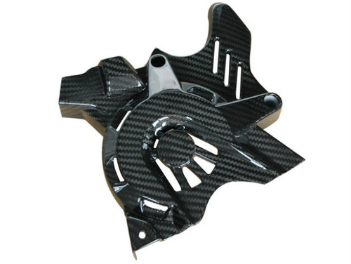 Sprocket Cover in Glossy Twill Weave Carbon Fiber for BMW F700