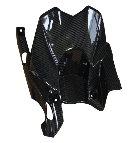 Rear Hugger (Compatible w/ Chain Guard) in Glossy Twill Weave Carbon Fiber for Kawasaki Z800