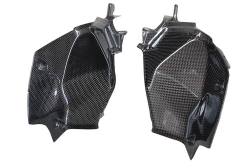 Dash Panel Air Intake Covers in Glossy Plain Weave  Carbon Fiber for Kawasaki Z800