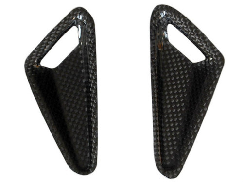 Tank Protectors in Glossy Plain Weave Carbon Fiber for Ducati Hypermotard 1100