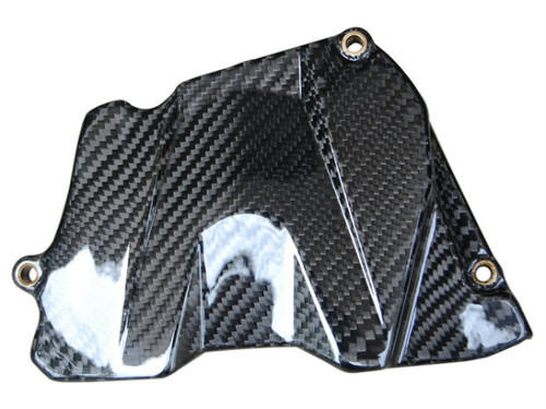 Sprocket Cover in Glossy Twill Weave Carbon Fiber for Yamaha R6 03-05