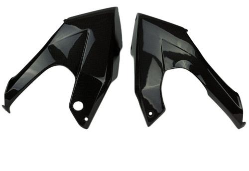 Belly Pan Fairings in Glossy Plain Weave Carbon Fiber for Kawasaki ER-6F- Ninja 650 2012-2016