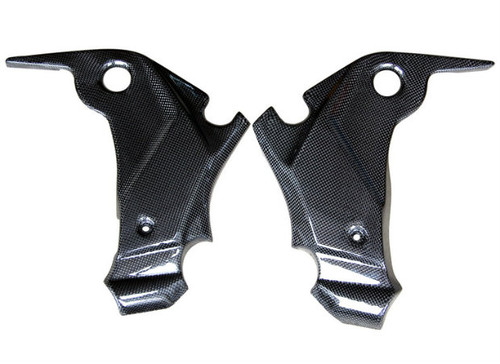 Frame Covers in Glossy Plain Weave Carbon Fiber for Kawasaki ER-6 (F,N) - Ninja 650R, 2009-2011