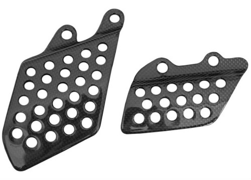 Heel Guards in Glossy Plain Weave Carbon Fiber for Kawasaki ZX12R