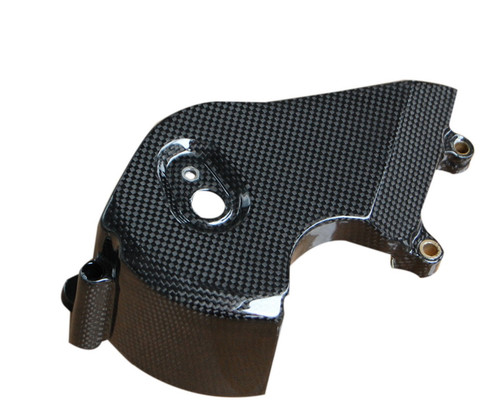 Sprocket Cover in Glossy Plain Weave Carbon with Fiberglass for Suzuki TL1000R