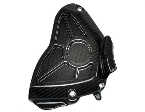 Sprocket Cover in Glossy Twill Weave Carbon Fiber for Yamaha R1 2015+, FZ-10/MT-10 2017+