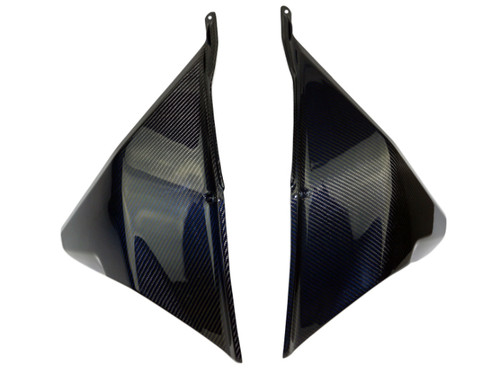 Side Panels (B) in Black and Blue Glossy Twill Weave Carbon Fiber for KTM 1290 Super Adventure