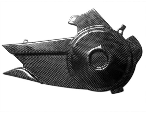 Sprocket Cover in Glossy Plain Weave Carbon with Fiberglass for Buell 1125