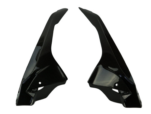 Upper Side Fairings in Glossy Twill Weave Carbon Fiber for BMW S1000RR 2015+