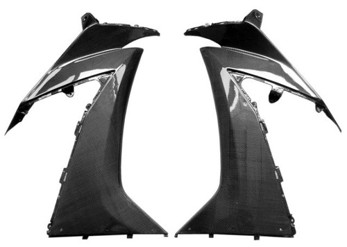 Large Side Panels in Glossy Plain Weave Carbon Fiber for Kawasaki ZX10R 2010