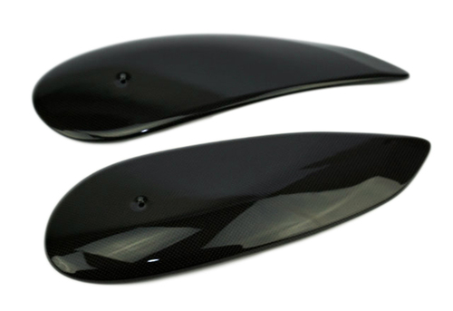 Tank Panels in Glossy Plain Weave Carbon Fiber for Ducati Scrambler