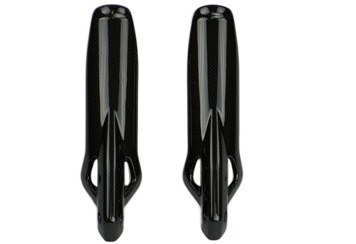 Fork Protectors Style 1 in Glossy Plain Weave Carbon Fiber for Ducati Scrambler