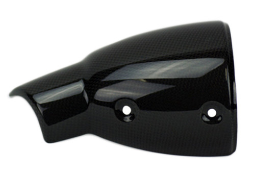 Lower Exhaust Cover in Glossy Plain Weave Carbon Fiber for Ducati Scrambler