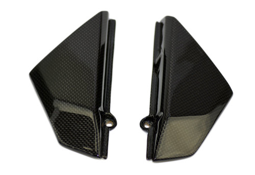 Under Tank Side Covers in Glossy Plain Weave Carbon Fiber for Ducati Scrambler