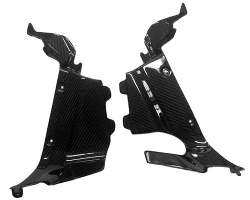 Upper Side Inner Fairings in Glossy Twill Weave Carbon Fiber for Honda CBR600RR 2013+