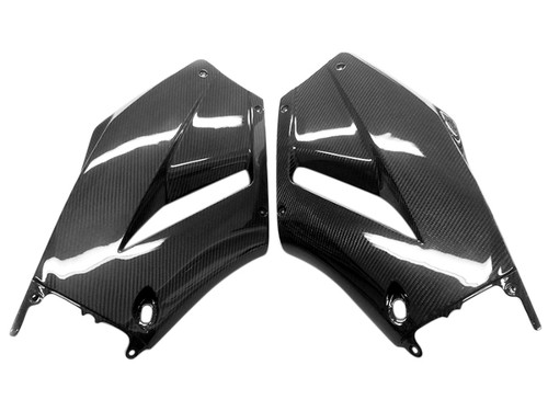 Side Fairings in Glossy Twill Weave Carbon Fiber for Honda CBR600RR 2013+