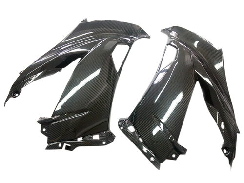 Side Fairings in Glossy Twill Weave Carbon Fiber for Kawasaki ZX6R 2013-2018