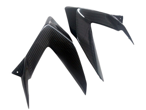Lower Side Fairings in Glossy Twill Weave Carbon Fiber for Kawasaki ZX6R 2013-2018