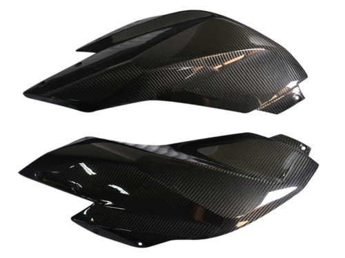 Tank Side Panels in Glossy Twill Weave  Carbon Fiber for BMW R1200RS 2015+