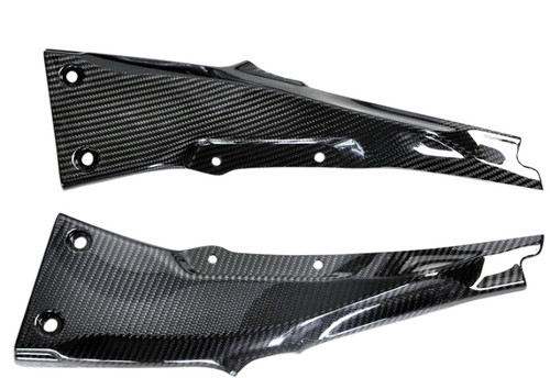 Seat Side Panels in Glossy Twill Weave Carbon Fiber for Kawasaki ZX10R 2016+