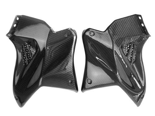 Upper Tank Covers w/ Aluminium Grill in Glossy Twill Weave Carbon Fiber for Kawasaki H2