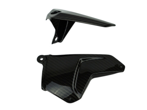 Chain Guard and Swing Arm Protector Set  in Glossy Twill weave Carbon Fiber for Kawasaki H2, H2 SX