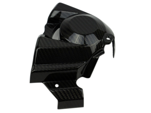 Sprocket Cover in Glossy Twill Weave Carbon Fiber for Kawasaki H2, H2 SX