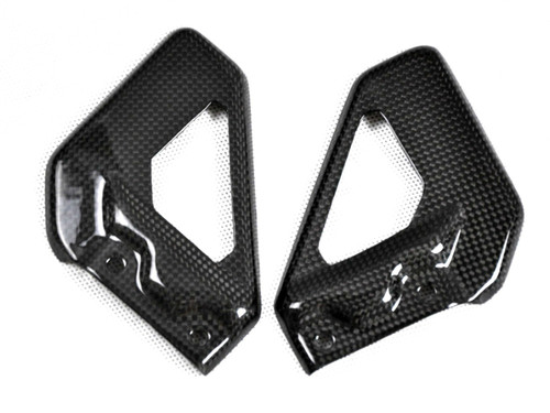 Heel Plates in Glossy Plain Weave Carbon Fiber for Aprilia RSVR 04-09, Tuono 06-10